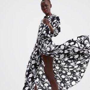 ZARA Black and White Floral Maxi Dress